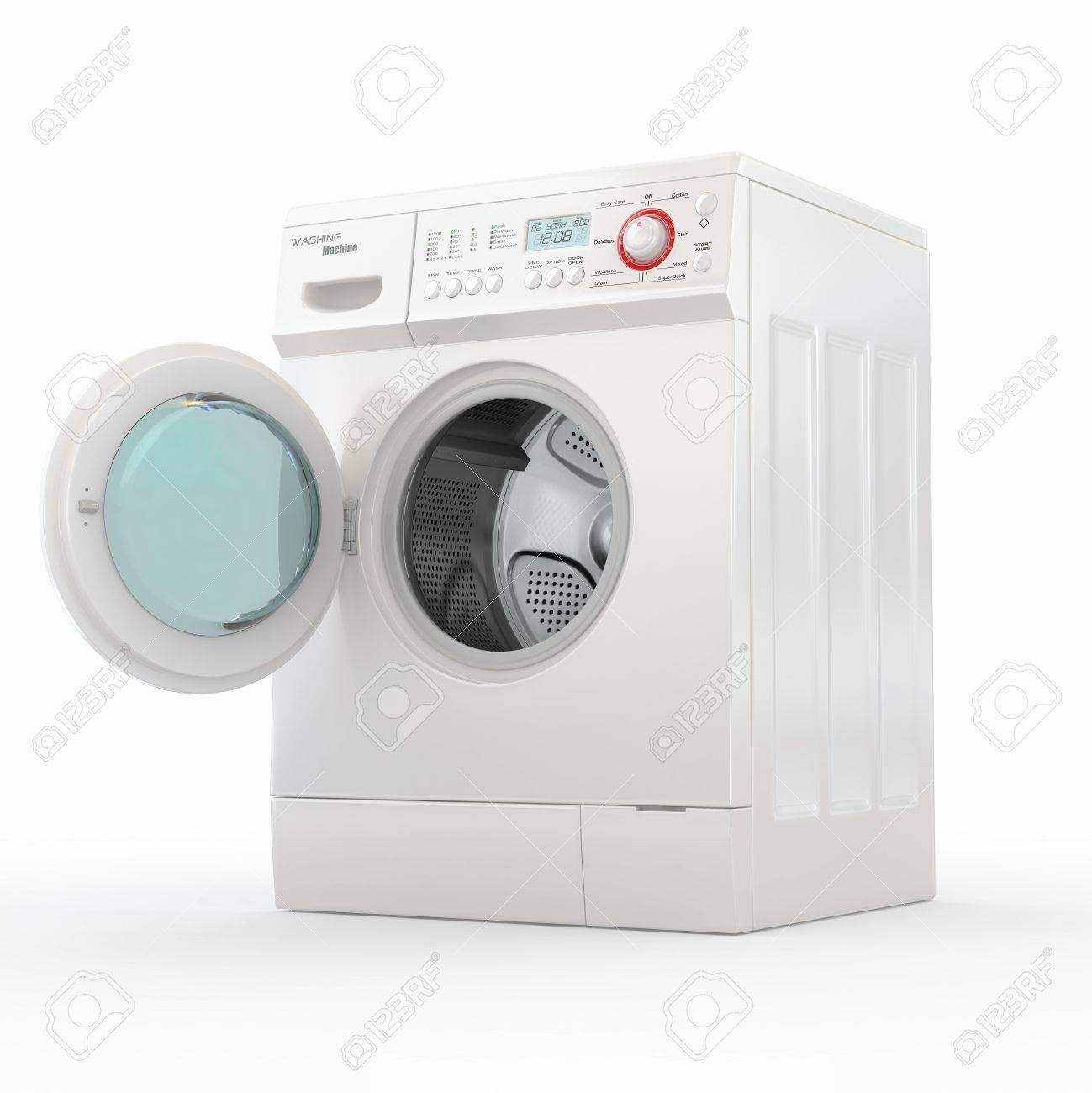 Opening washing machine on white background. 3d Stock Photo - 11216610