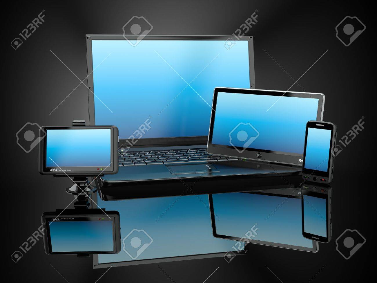 Electronics. Laptop, mobile phone, tablet pc and gps. 3d Stock Photo - 11510870
