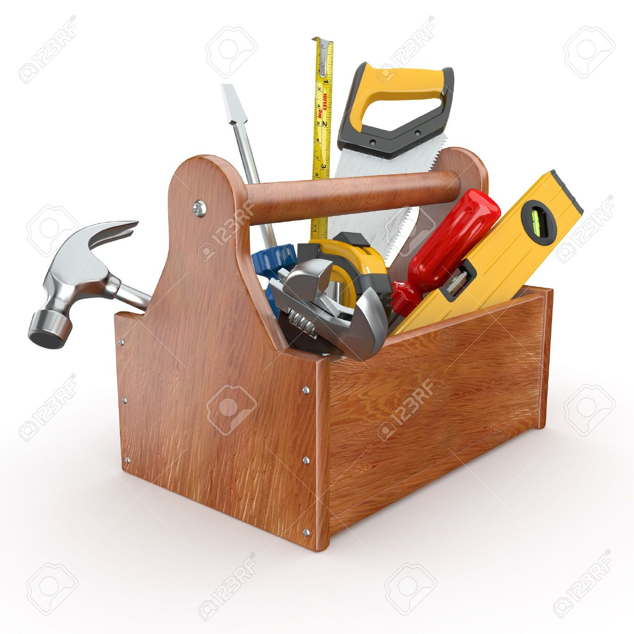 Toolbox with tools. Skrewdriver, hammer, handsaw and wrench. 3d Stock Photo - 11510921
