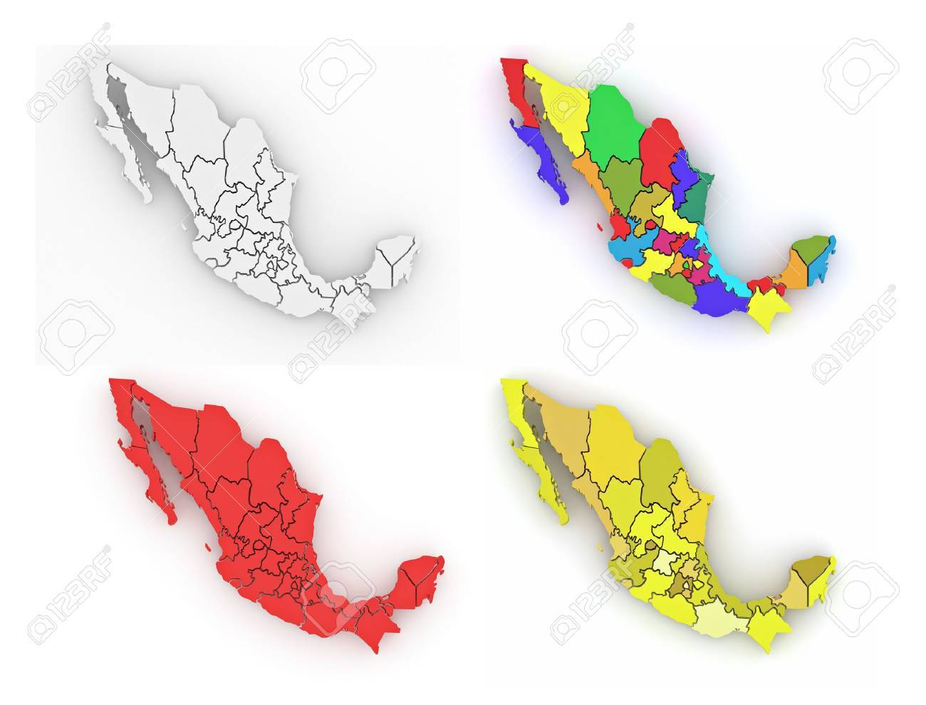 Three-dimensional map of Mexico on white isolated background. 3d Stock Photo - 11771073