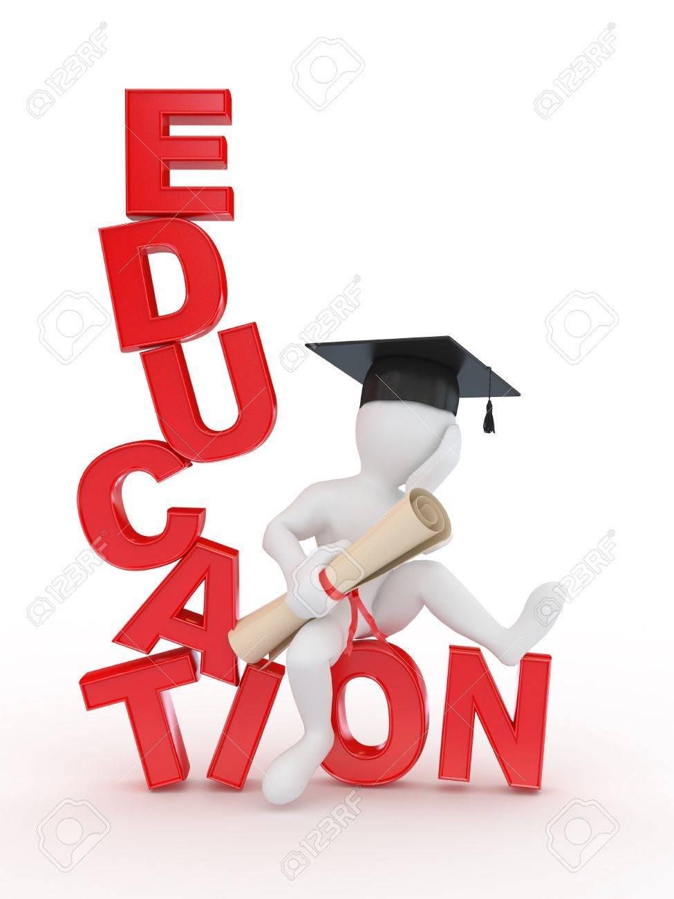 Человек с дипломом по тексту образования d Фотография картинки  Человек с дипломом по тексту образования 3d Фото со стока 11866642