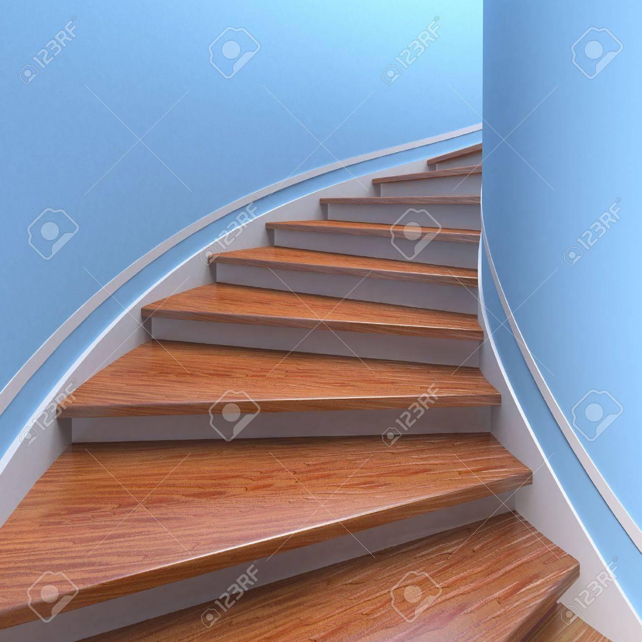 escaleras de caracol de madera d foto de archivo