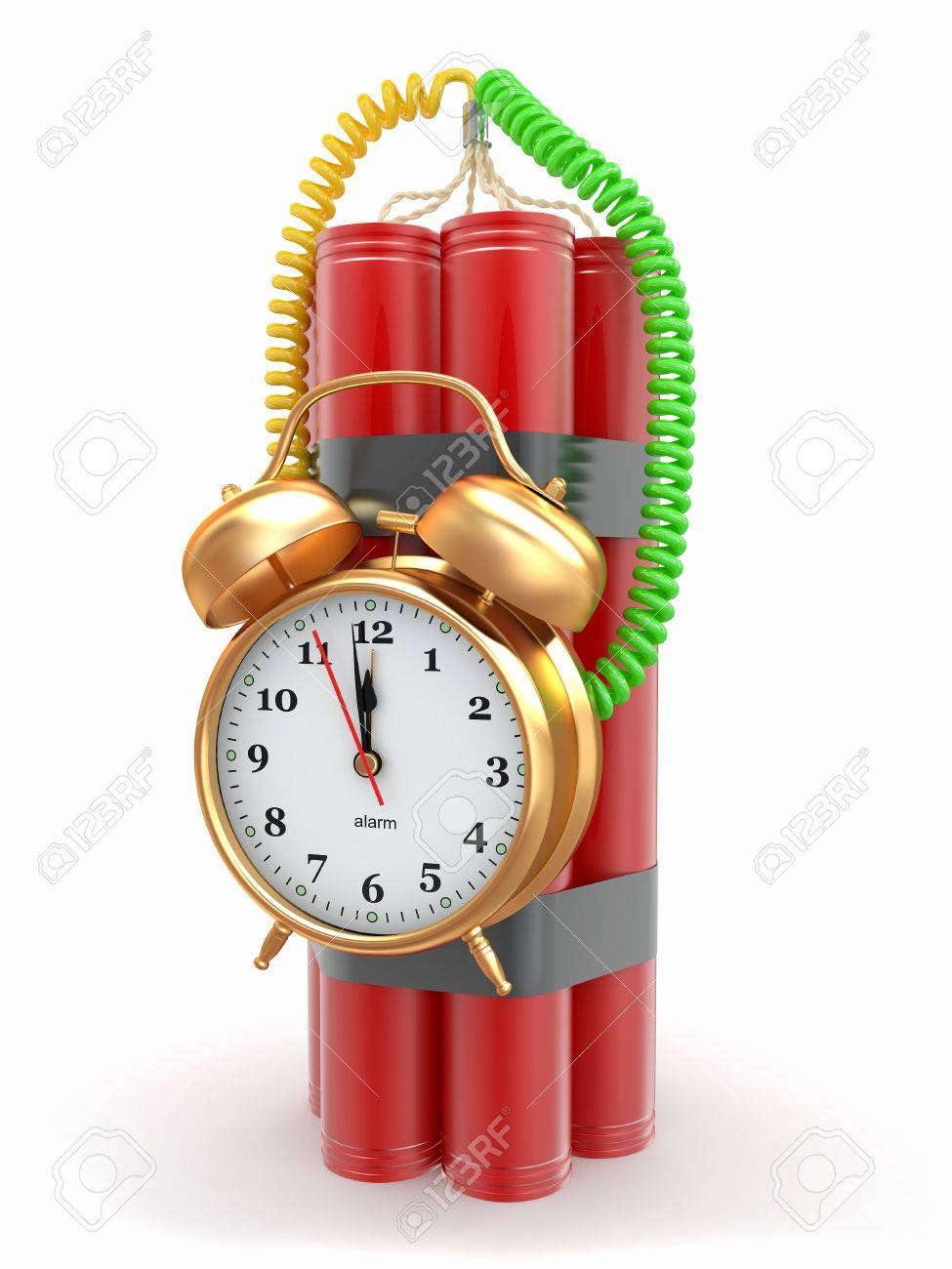 Countdown.  Time bomb with alarm clock detonator. Dynamit. 3d Stock Photo - 12766420