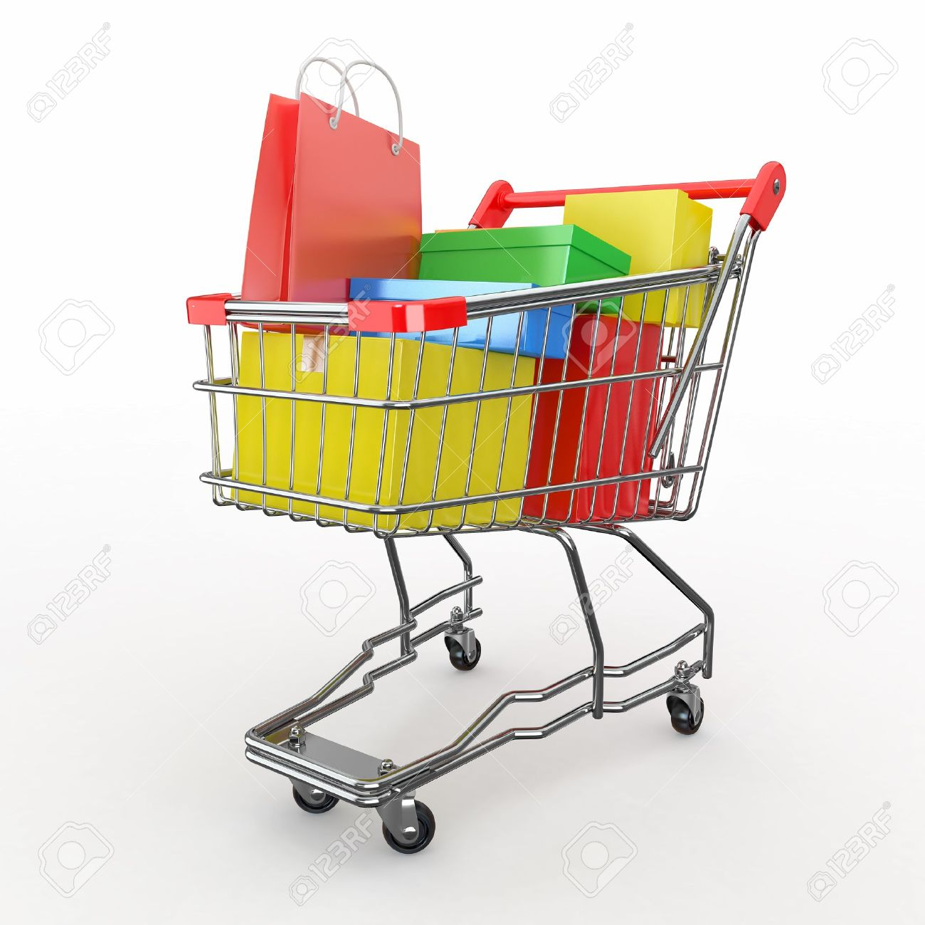 Gift buying. Shopping cart full of boxes. 3d Stock Photo - 12766497