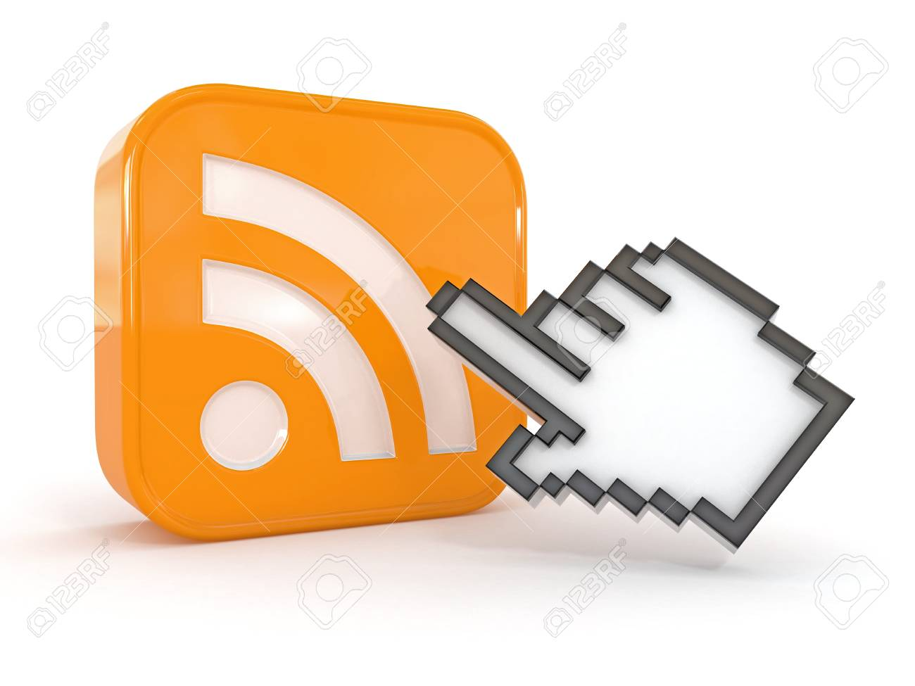 Rss or feed icon and cursor. 3d Stock Photo - 13098979