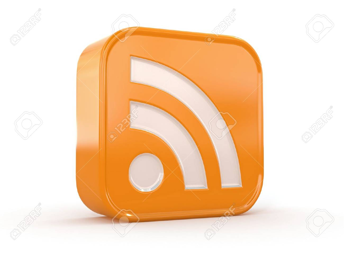 Rss or feed icon on white isolated background  3d Standard-Bild - 13282611