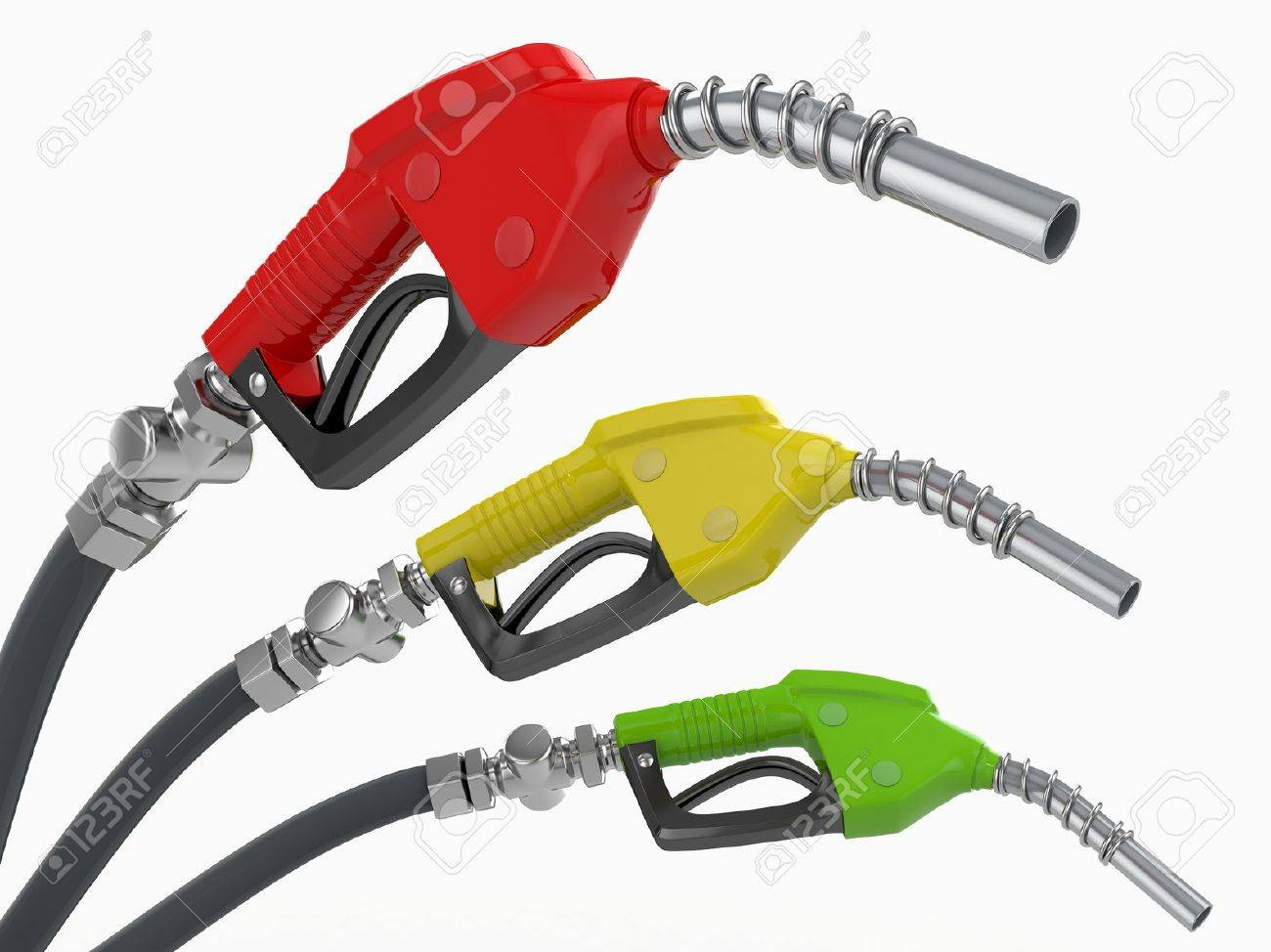 Gas pump nozzles o0n white isolated background. 3d Stock Photo - 13613380