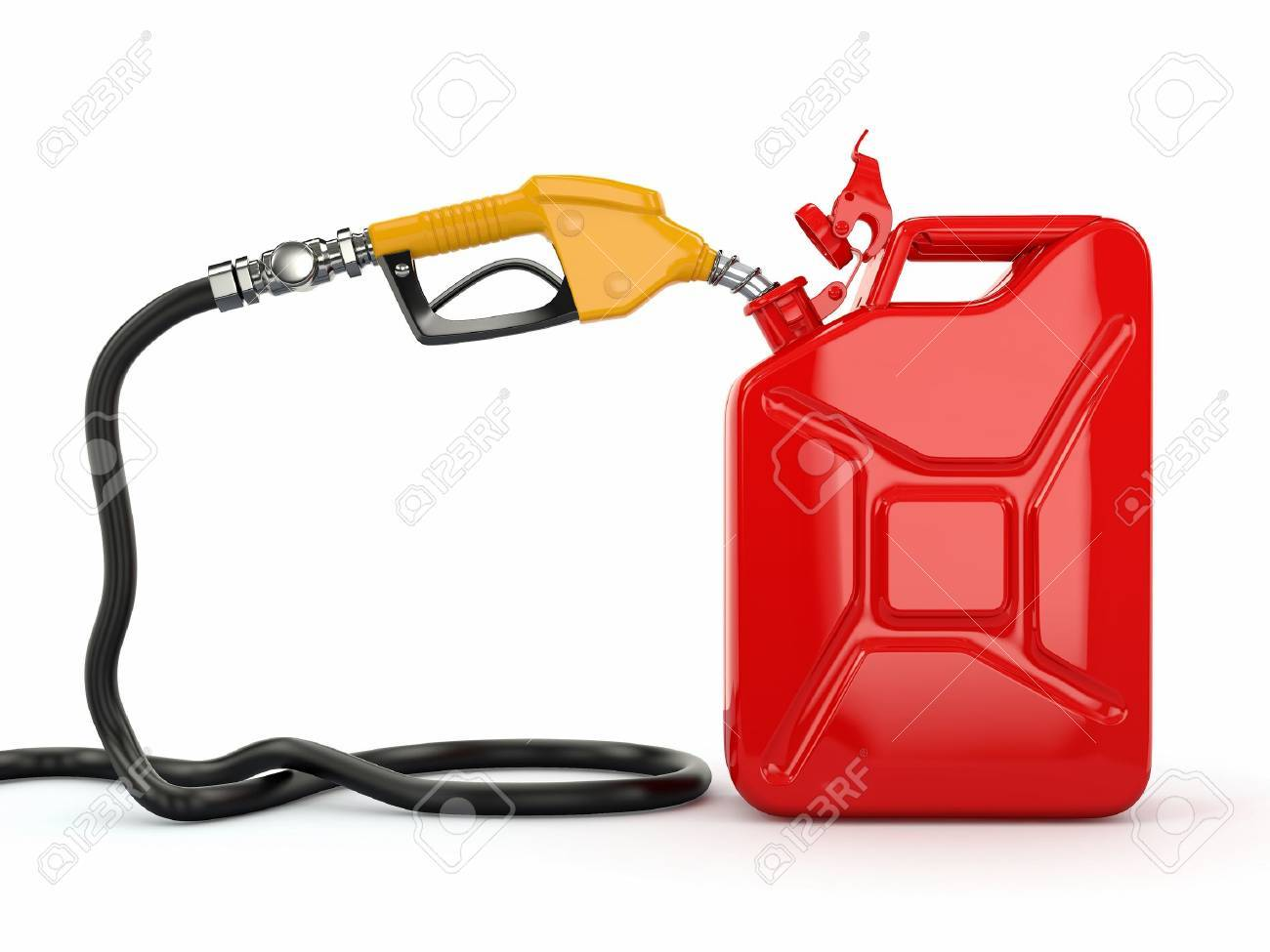 Gas pump nozzle and jerrycan on white background  3d Stock Photo - 13808297