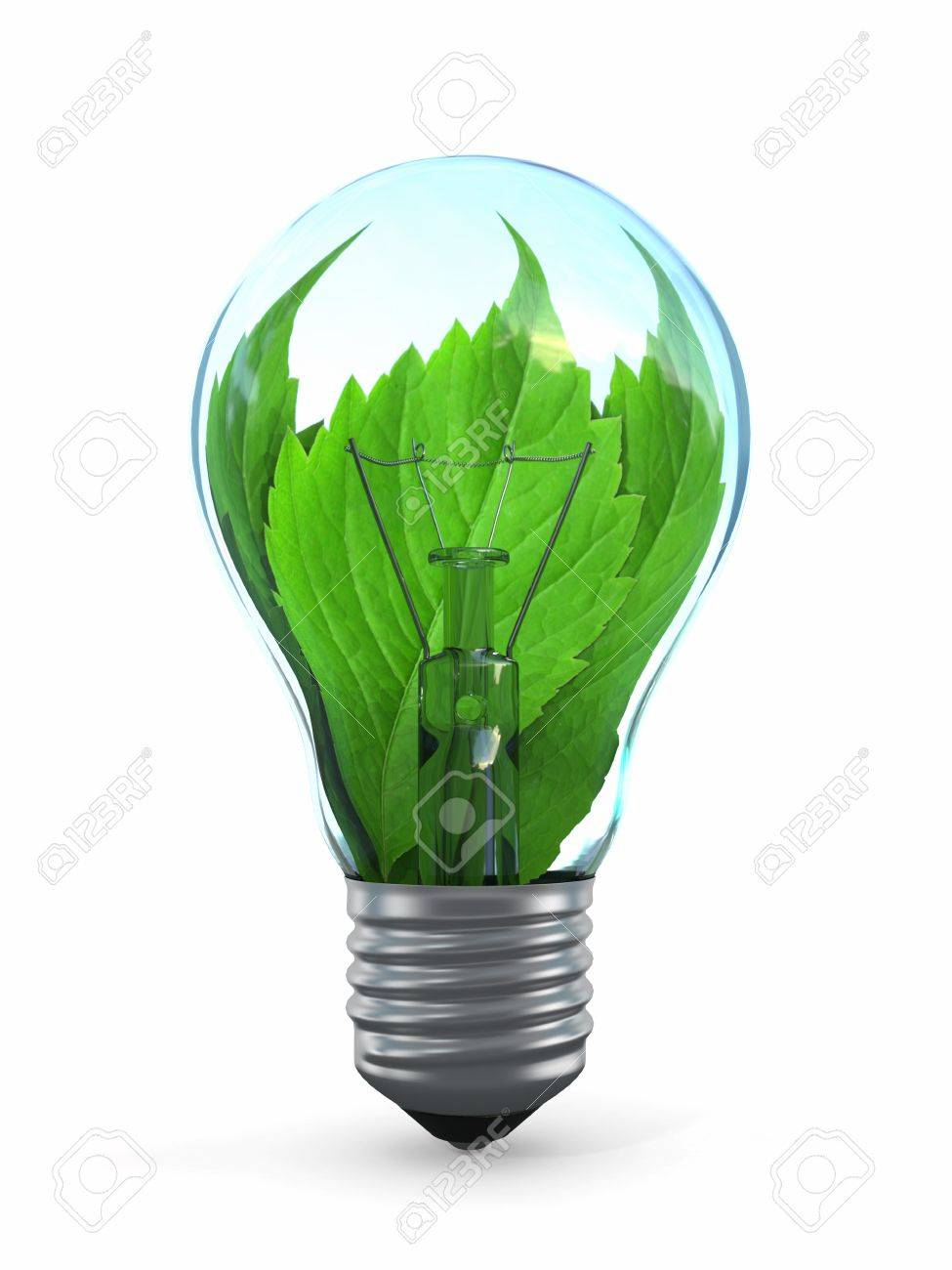 Ecology concept  Light bulb with leaf  3d Stock Photo - 14470455