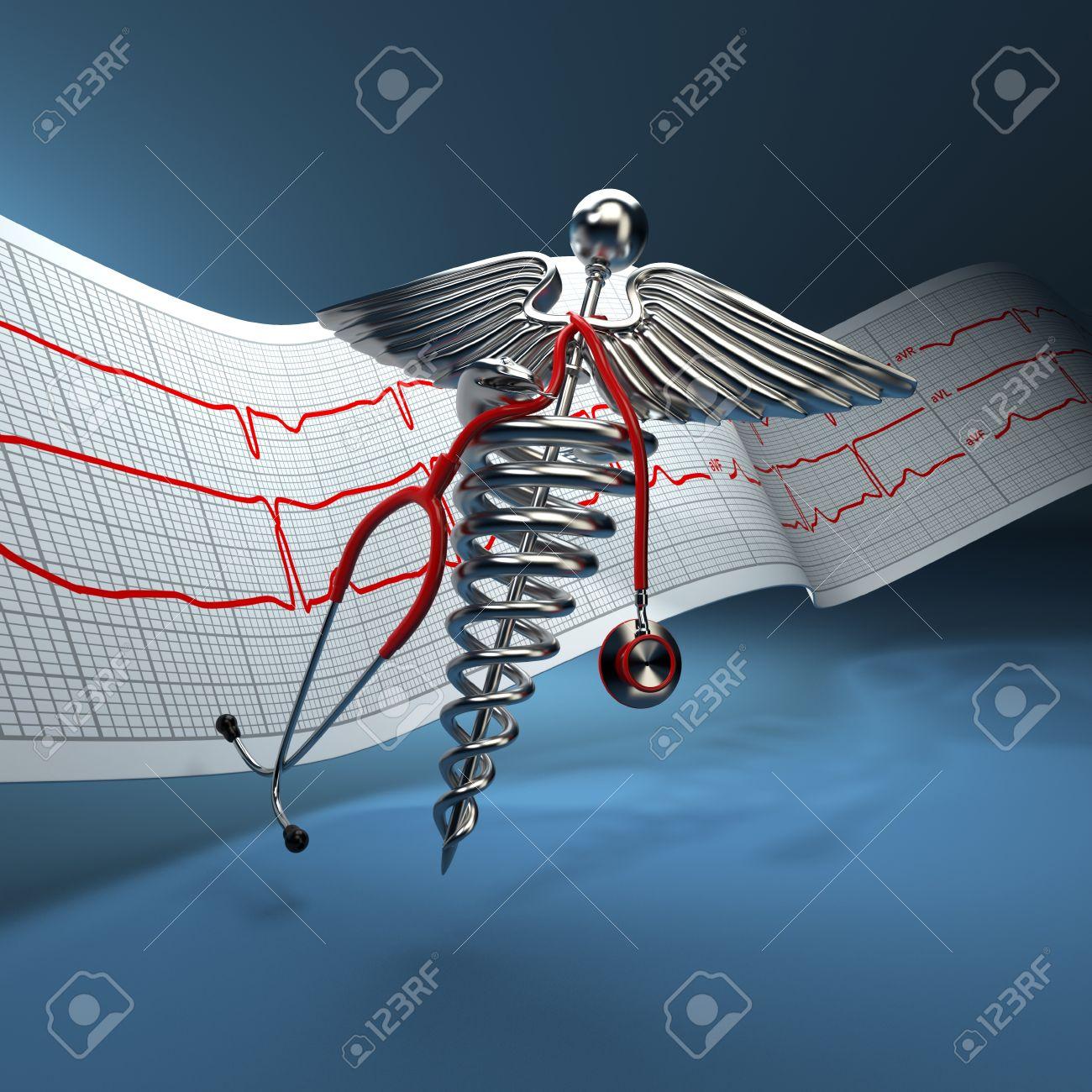 Medical background  Stethoscope, caduceus symbol  and cardiogram  3d Stock Photo - 14567004