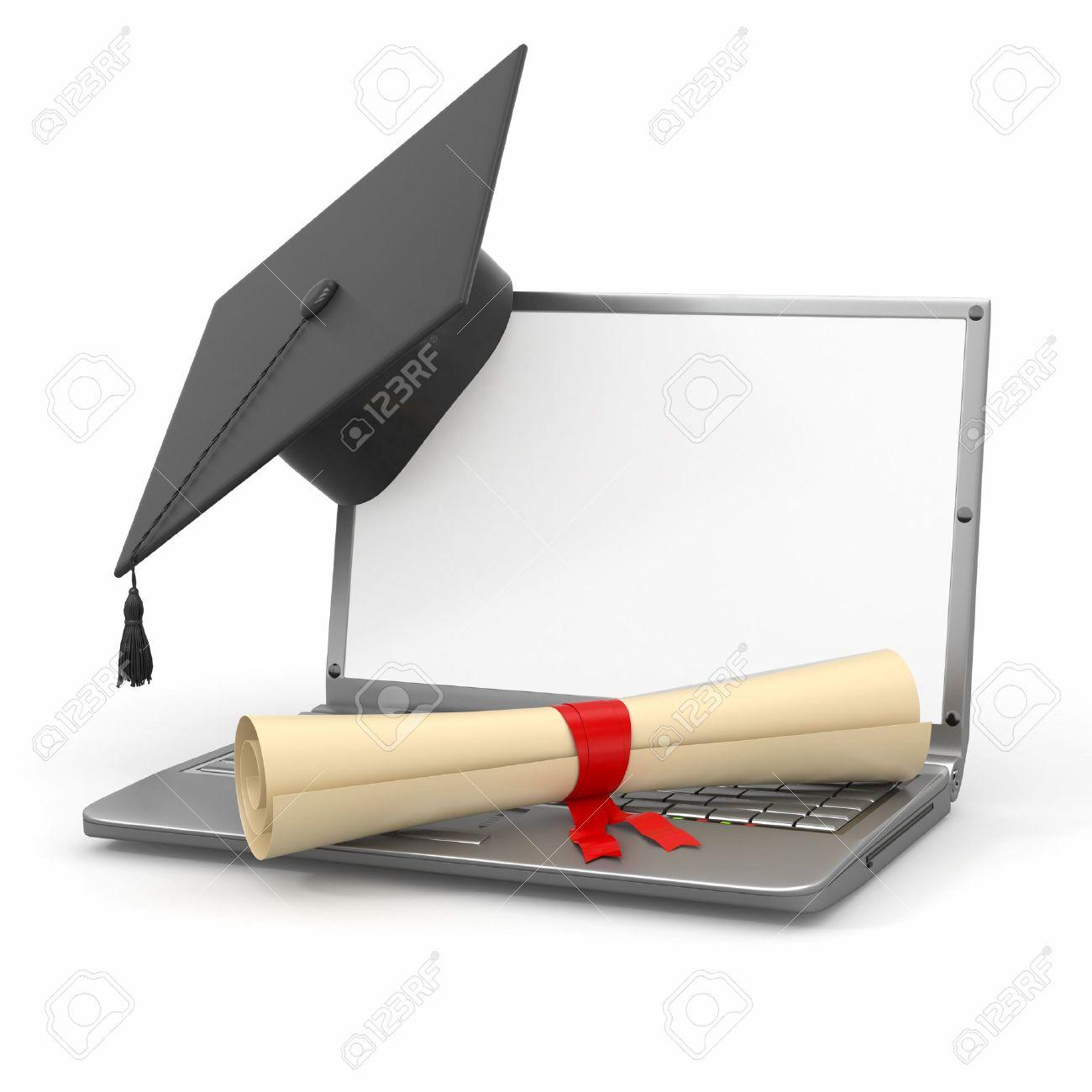 E Learning Studium Laptop Diplom Und Mörtel Bord 3d Lizenzfreie