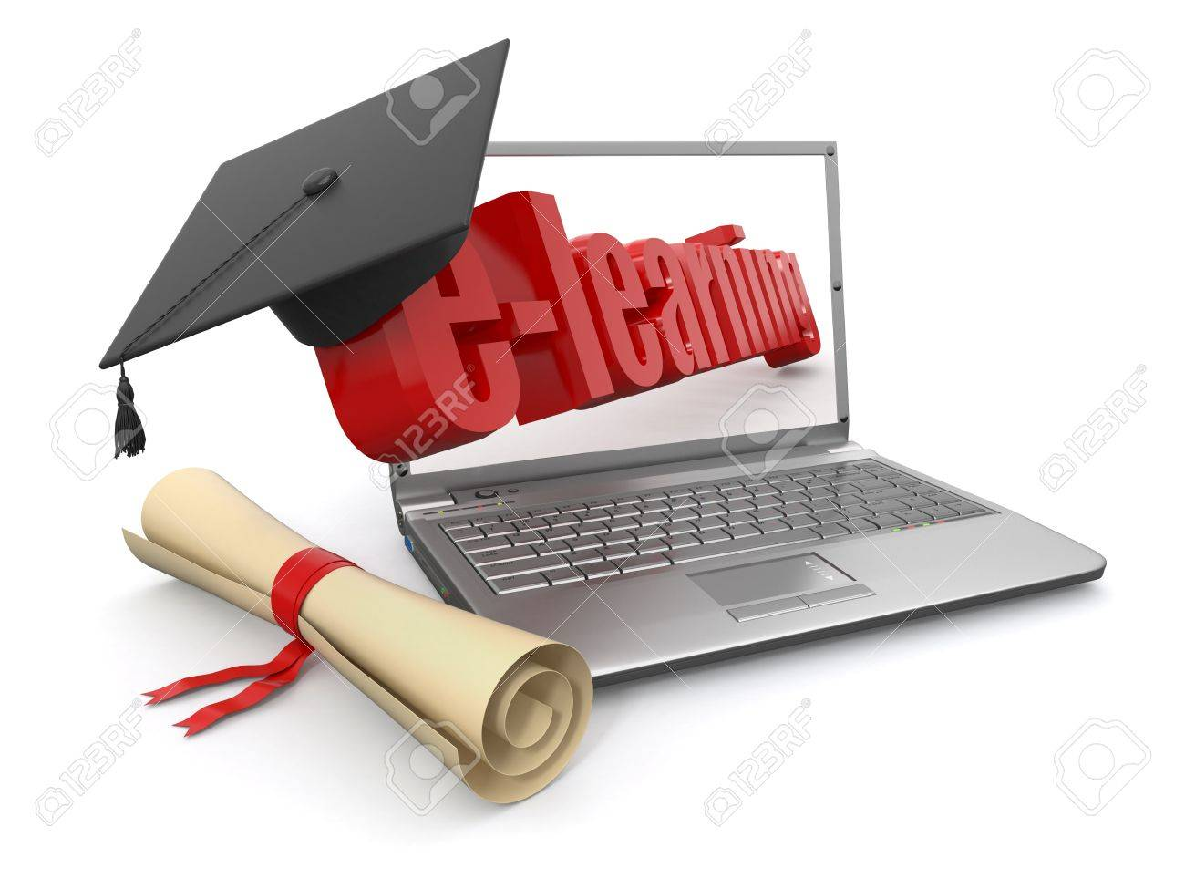 E Learning Laptop Diplom Und Mörtel Bord 3d Lizenzfreie Fotos