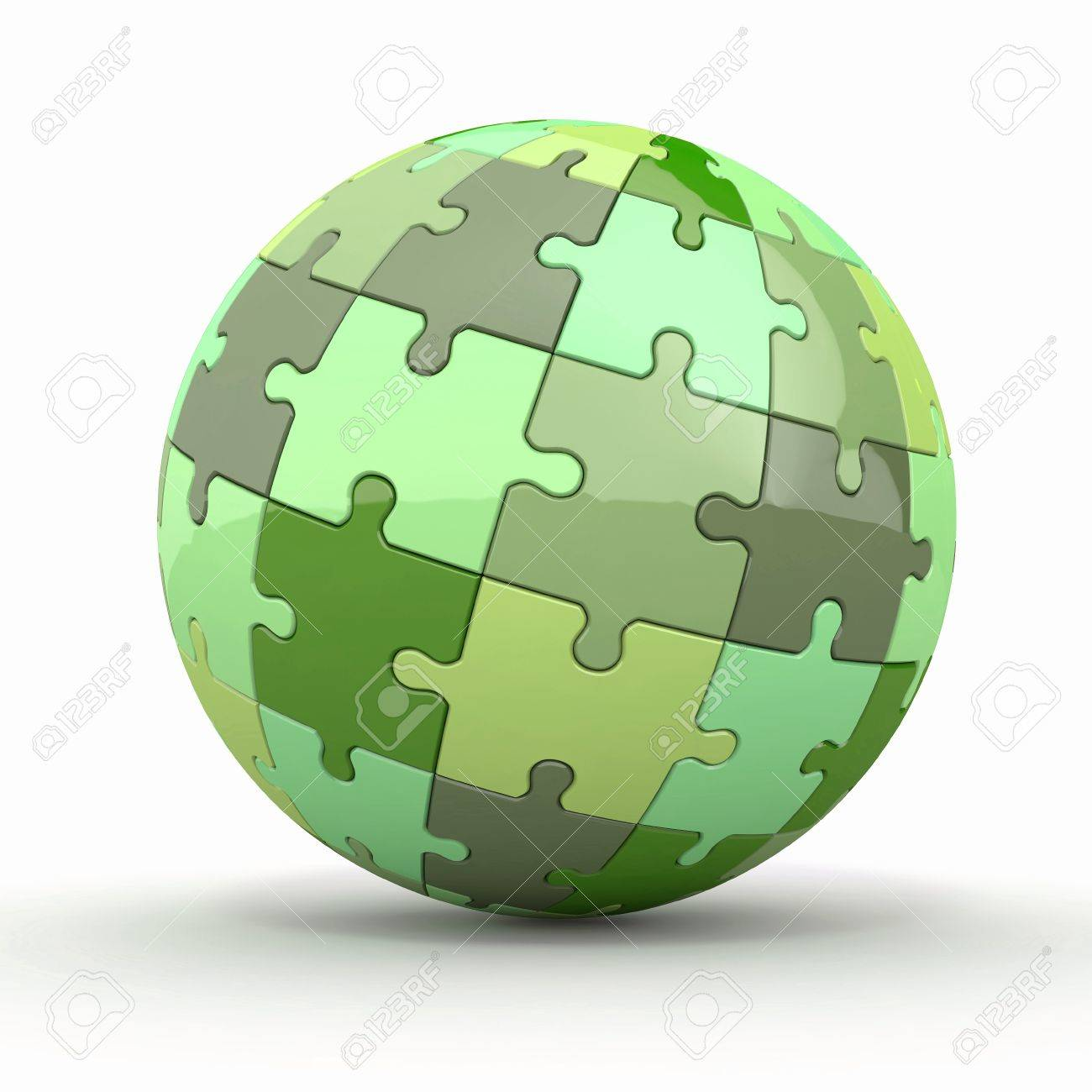 Globe or sphere from puzzles on white background  3d Stock Photo - 15260694