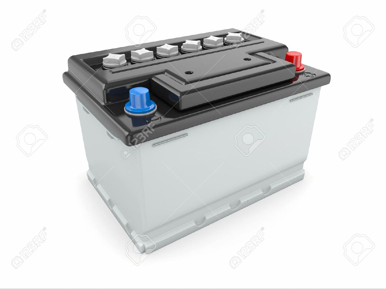 car battery on white background three dimensional image stock photo