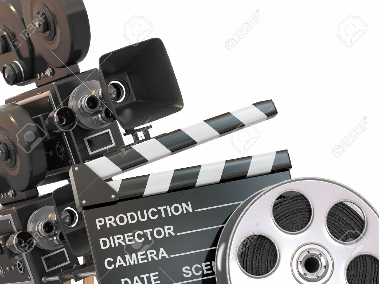 Movie composition  Vintage camera, reel and clapperboard  3d Stock Photo - 15649732