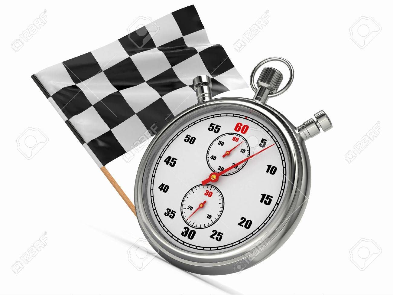 Stopwatch with checkered flag Start or finish 3d
