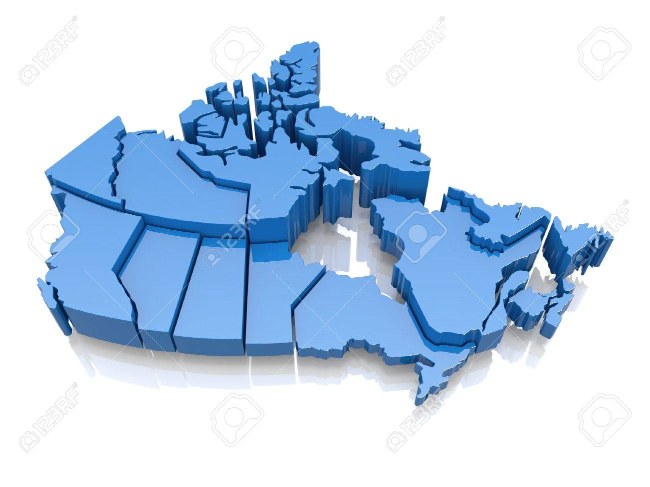 Three-dimensional map of Canada on white background  3d Stock Photo - 16788267