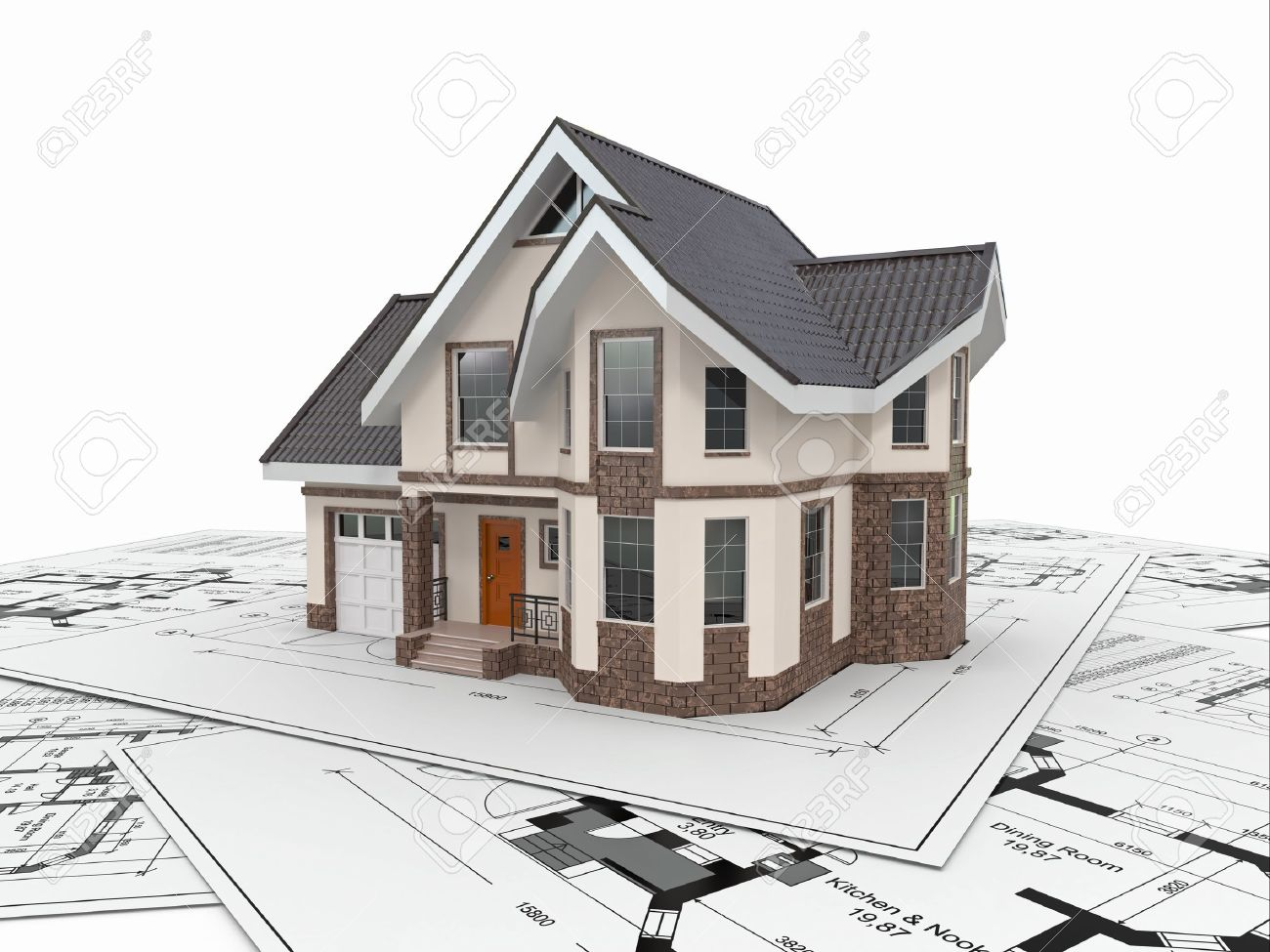 Residential House With Tools On Architect Blueprints Housing Project 3d Stock Photo 17299224