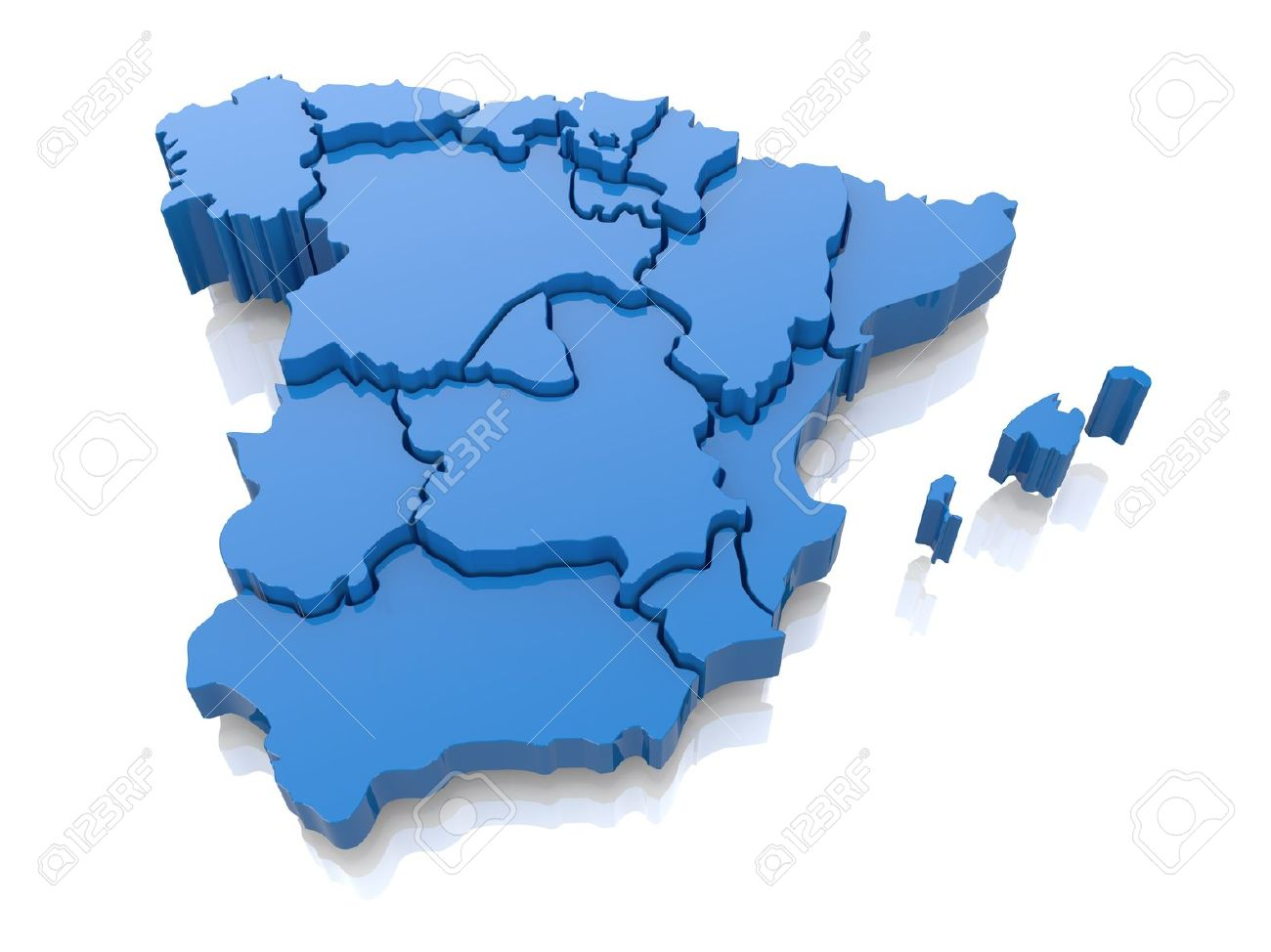 3d Map Of Spain.Three Dimensional Map Of Spain On White Background 3d