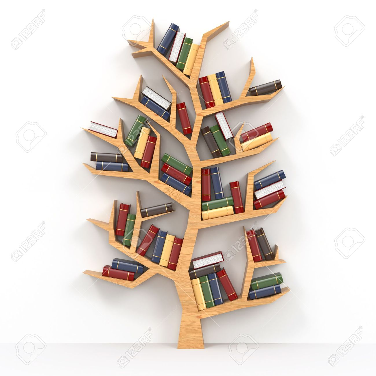 tree of knowledge bookshelf on white background d stock photo  - tree of knowledge bookshelf on white background d stock photo