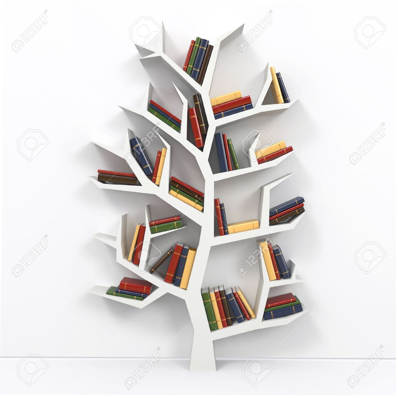 Tree Of Knowledge Bookshelf On White Background 3d Stock Photo