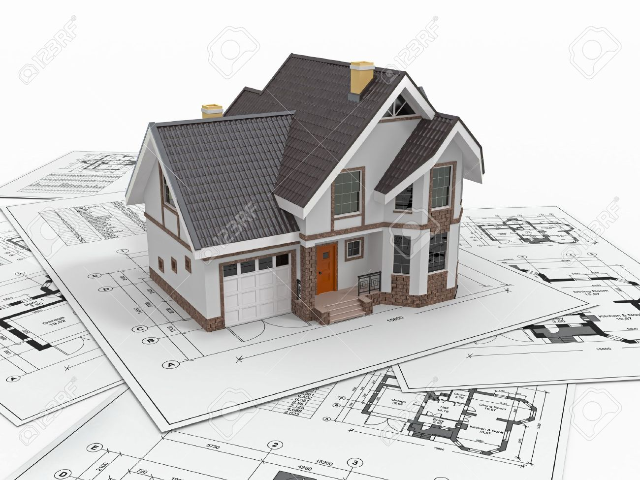 Architecture Blueprints 3d residential house with tools on architect blueprints. housing