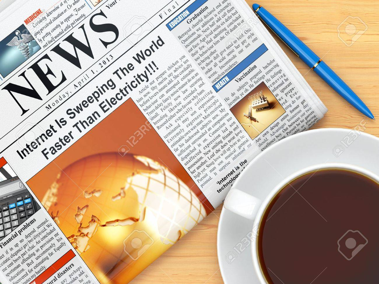 coffee cup newspaper and pen on table 3d banco de imagens royalty