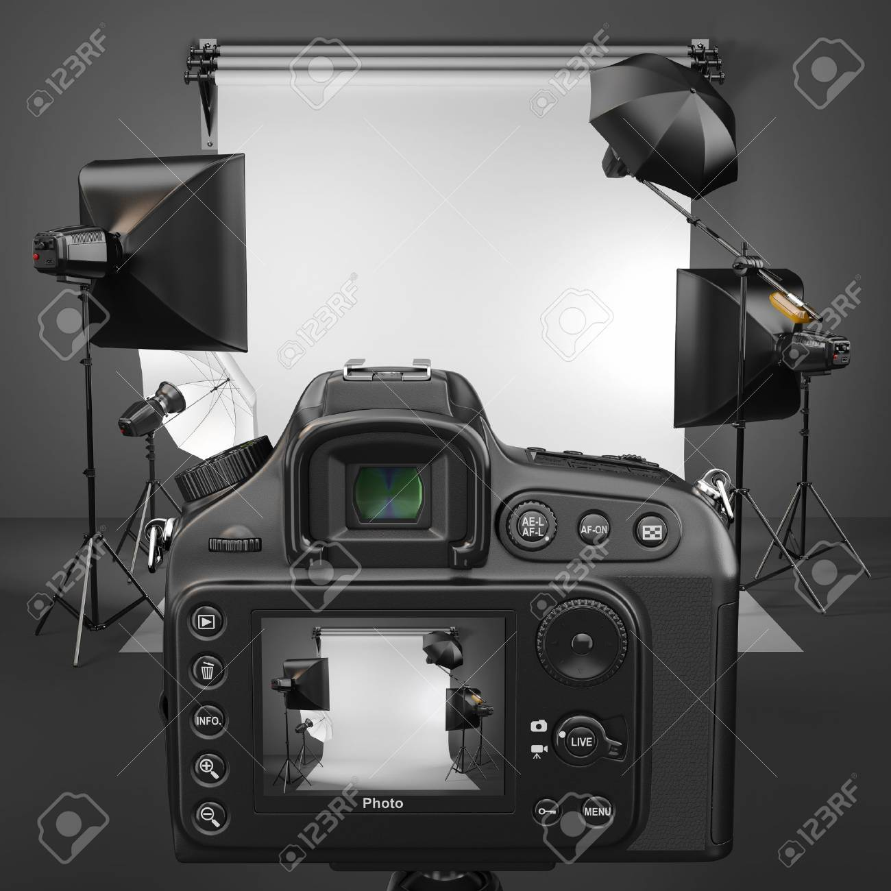 Digital photo camera in studio with soft box and flashes Stock Photo - 20622605