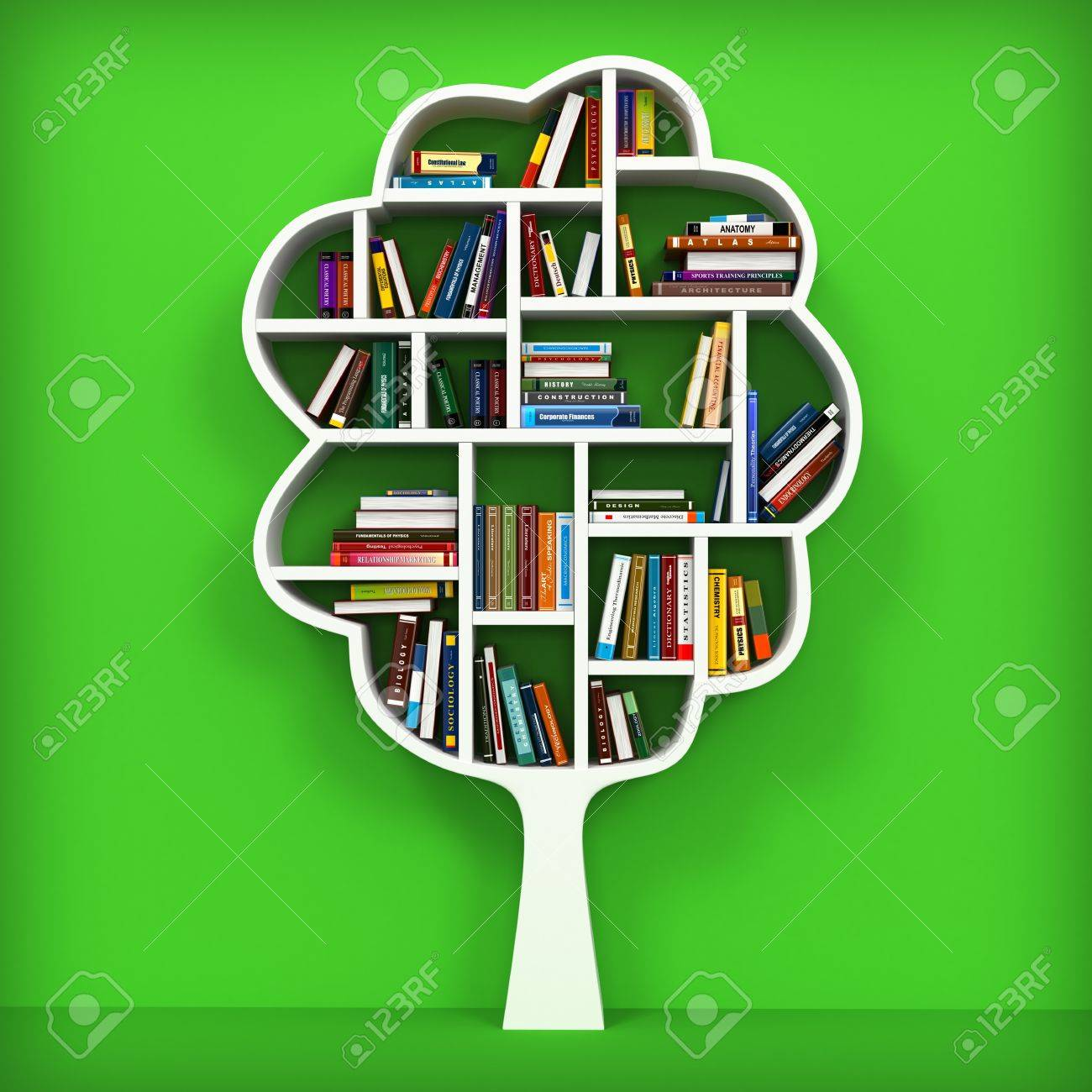 Bookshelf on white background Stock Photo - 20622633