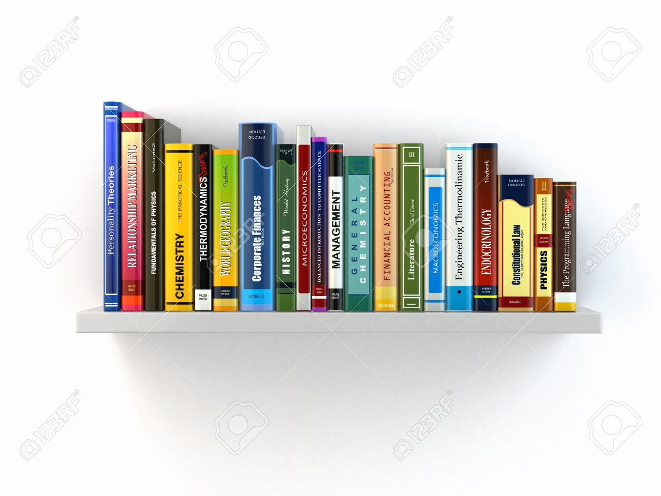 Concept of learning Books on the shelf 3d Stock Photo - 21995441