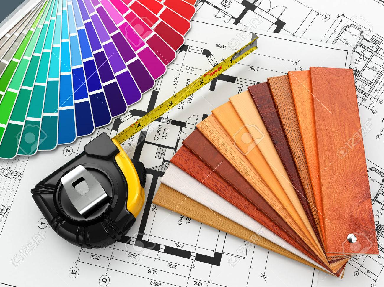 interior design. architectural materials, measuring tools and