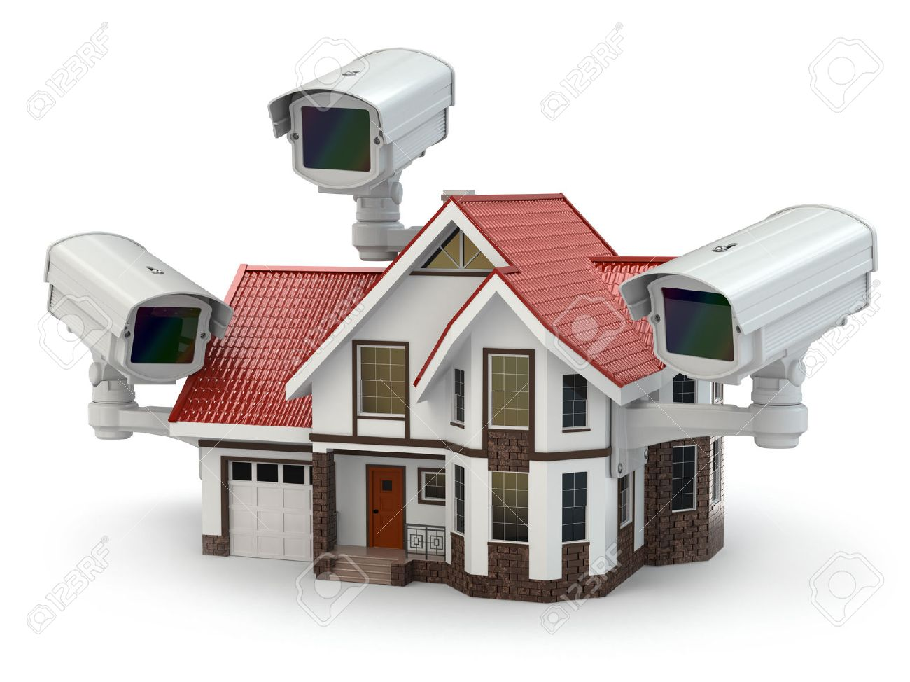 Security CCTV Camera On The House. 3d Stock Photo   25829639