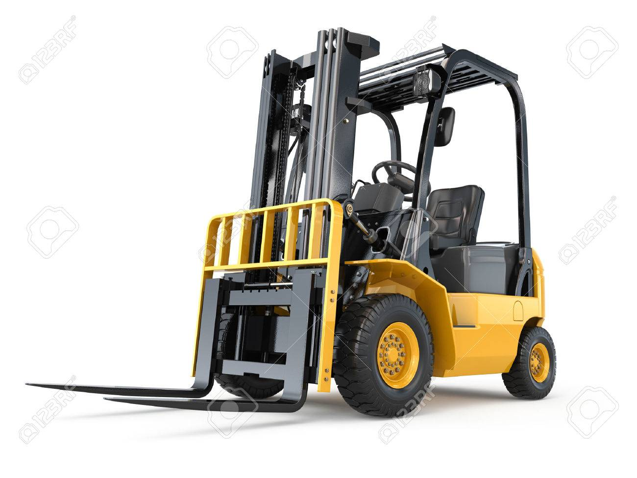 forklift truck on white isolated background 3d stock photo picture