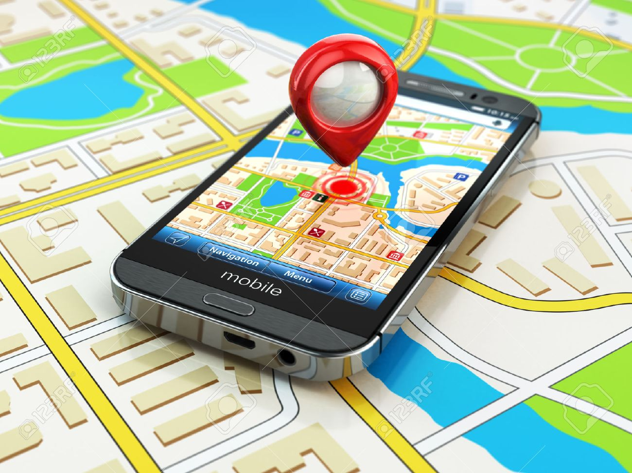Mobile GPS navigation concept. Smartphone on map of the city, 3d - 32387703