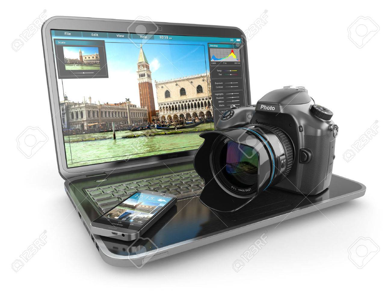Photo camera, laptop and mobile phone  Journalist or traveler