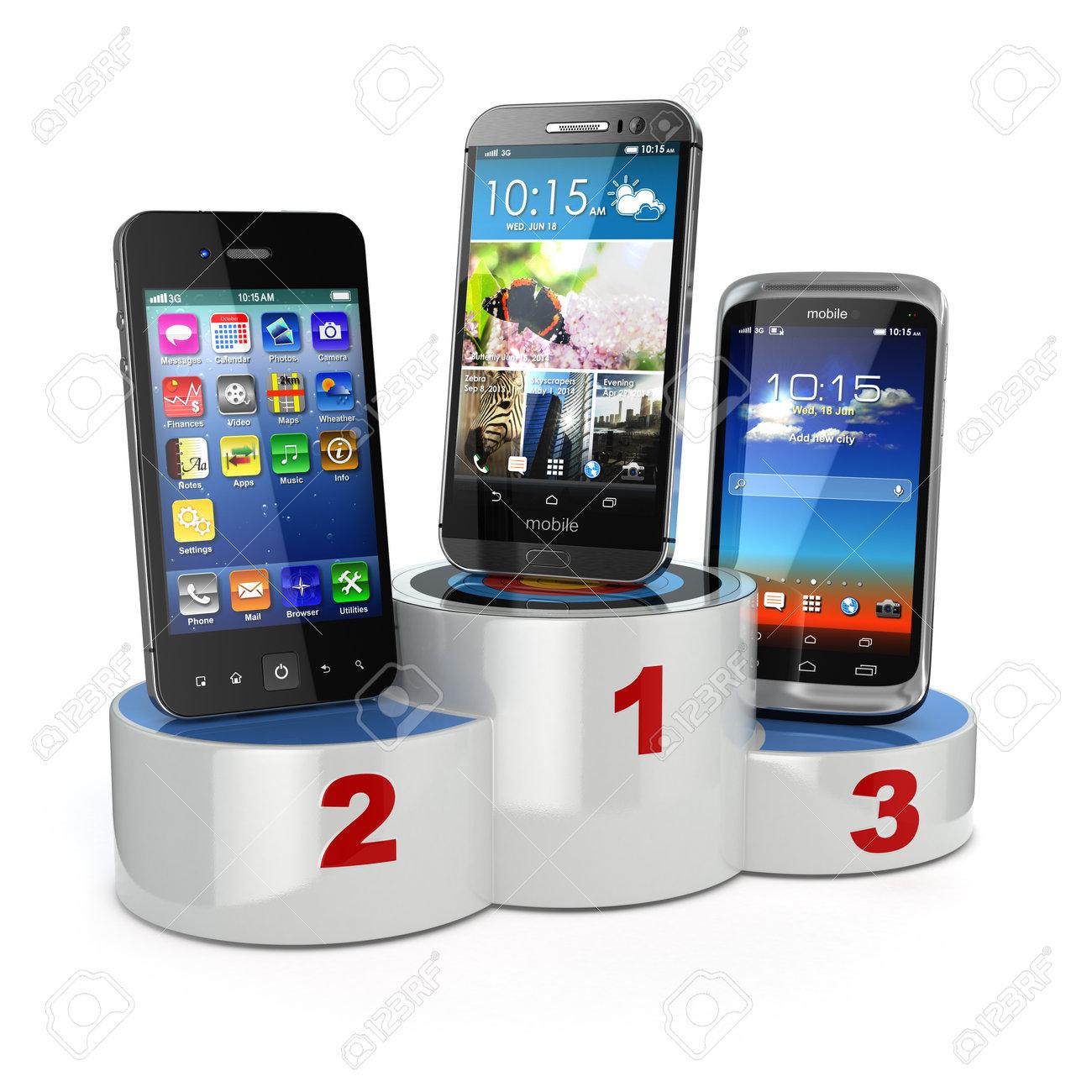 b5c512cc7c75b2 Banque d images - Choisir les meilleurs téléphones portables ou de  comparaison des téléphones mobiles. Smartphones sur le podium. 3d