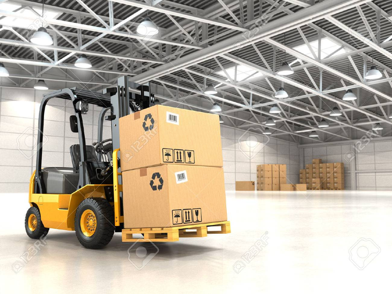 Forklift Truck In Warehouse Or Storage Loading Cardboard Boxes... Stock Photo, Picture And Royalty Free Image. Image 33397083.