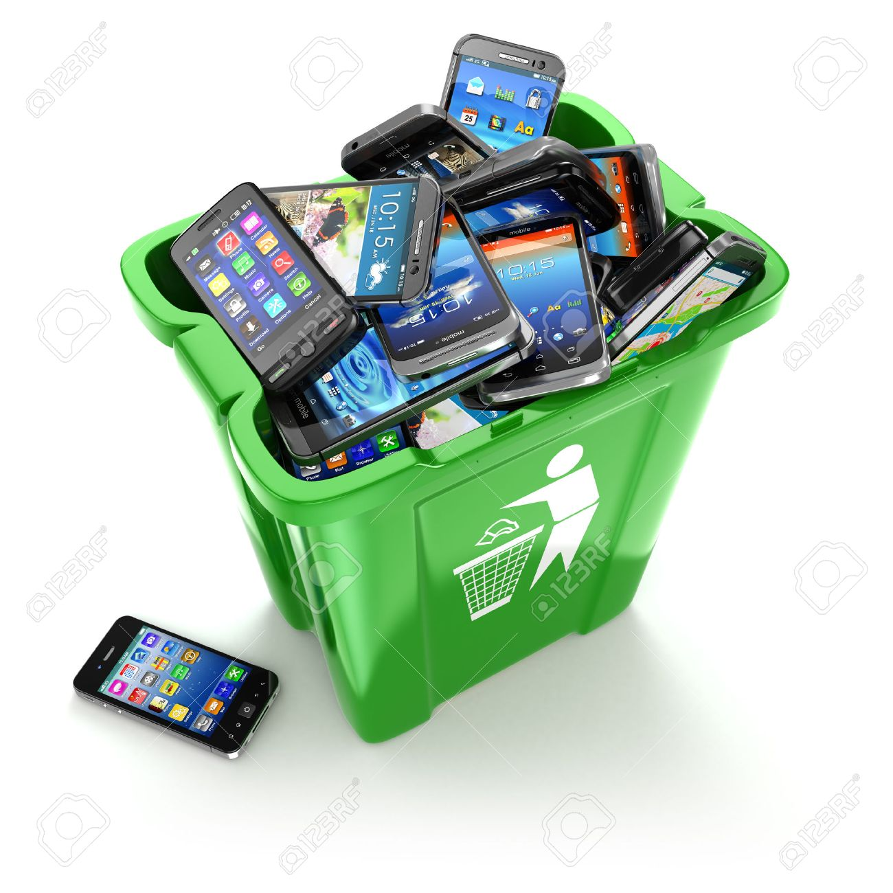 E waste background images - Electronic Waste Mobile Phones In Trash Can Isolated On White Background Utilization Cellphones Concept