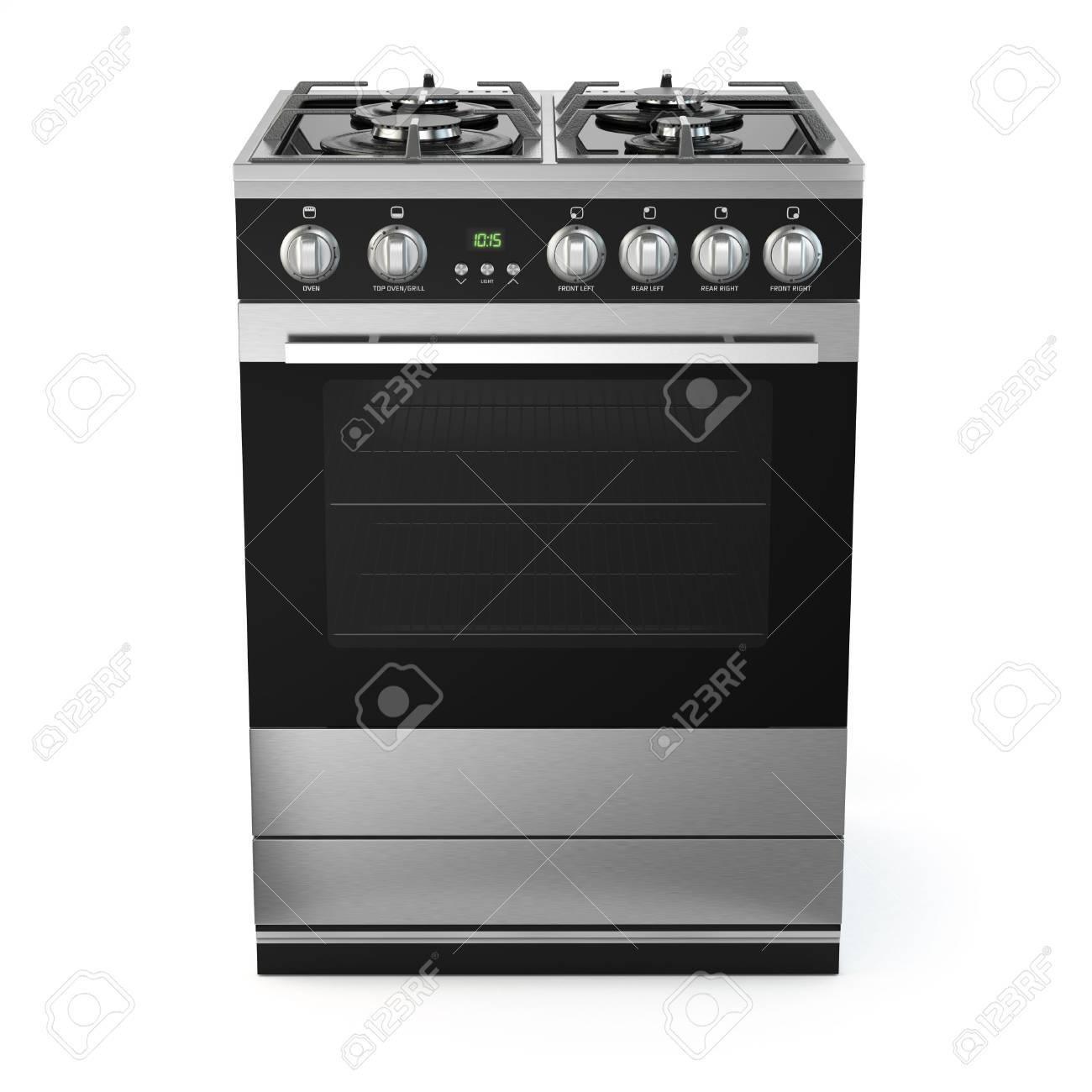 super populaire 97413 581ec Inoxydable cuisinière à gaz avec four en acier isolé sur blanc. 3d