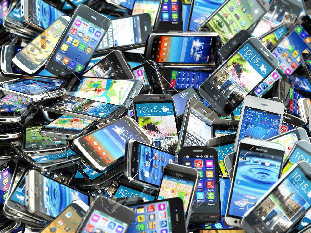 Mobile Phones Background Pile Of Different Modern Smartphones 3d Stock Photo Picture And Royalty Free Image Image 35257818