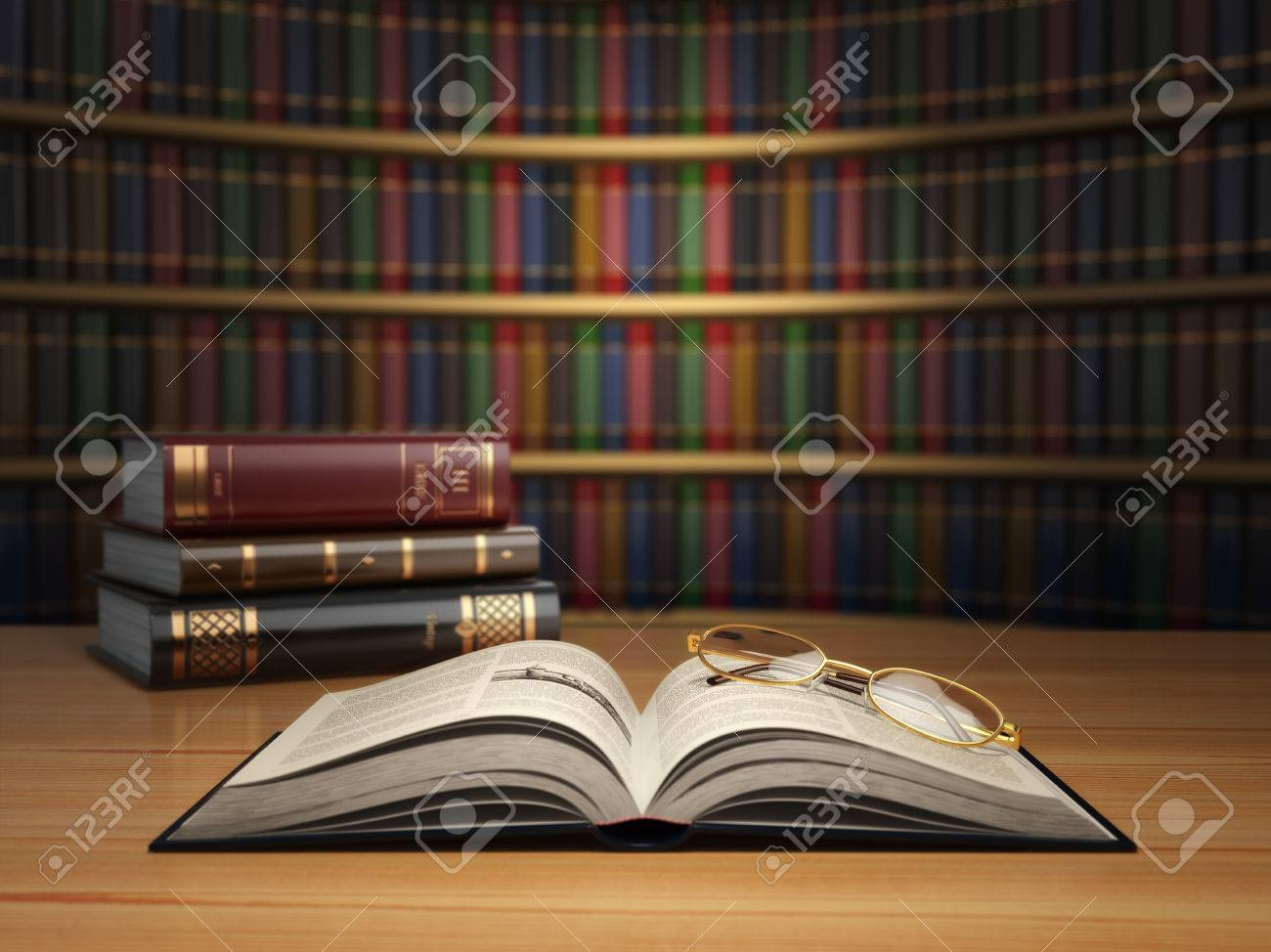 Stock Photo - Vintage books in library. Concept of education or book store.  3d