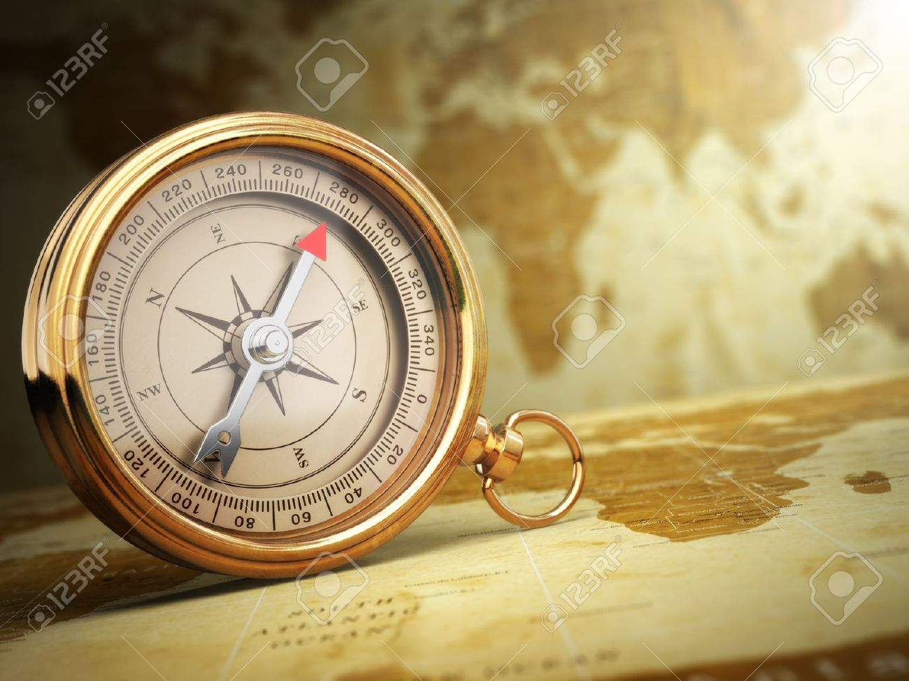 Vintage Compass On The Old World Map Travel Concept 3d Stock Photo
