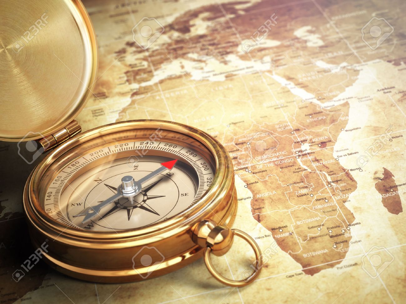 Vintage Compass On The Old World Map With DOF Effect Travel - Old world map