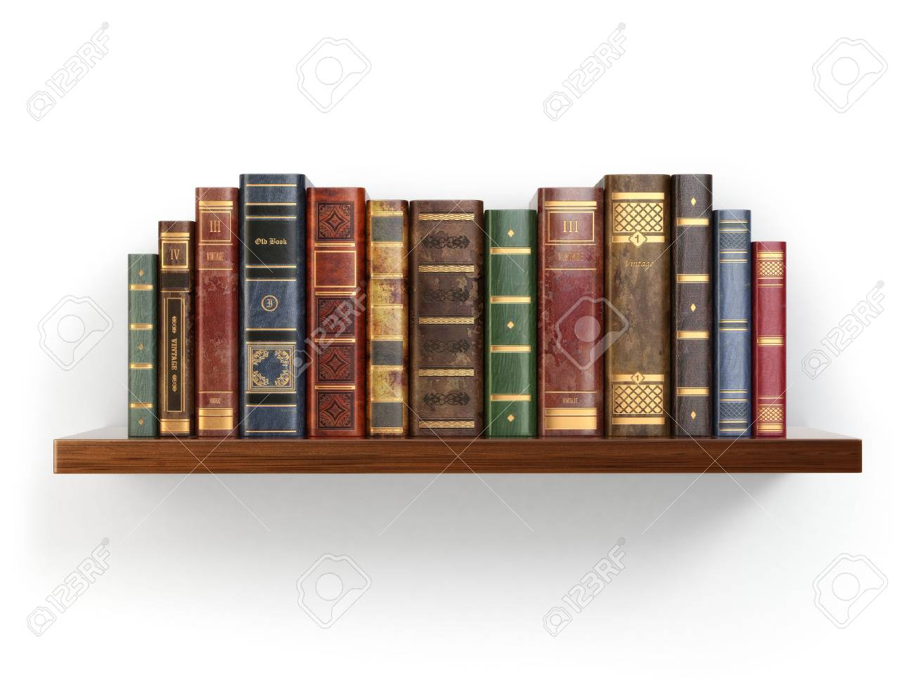 Vintage old books on shelf isolated on
