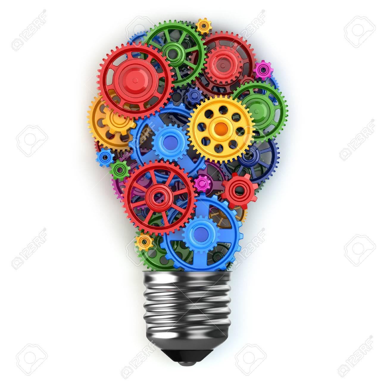 Gl Hbirne Und Getriebe Perpetuum Mobile Idee Konzept 3d