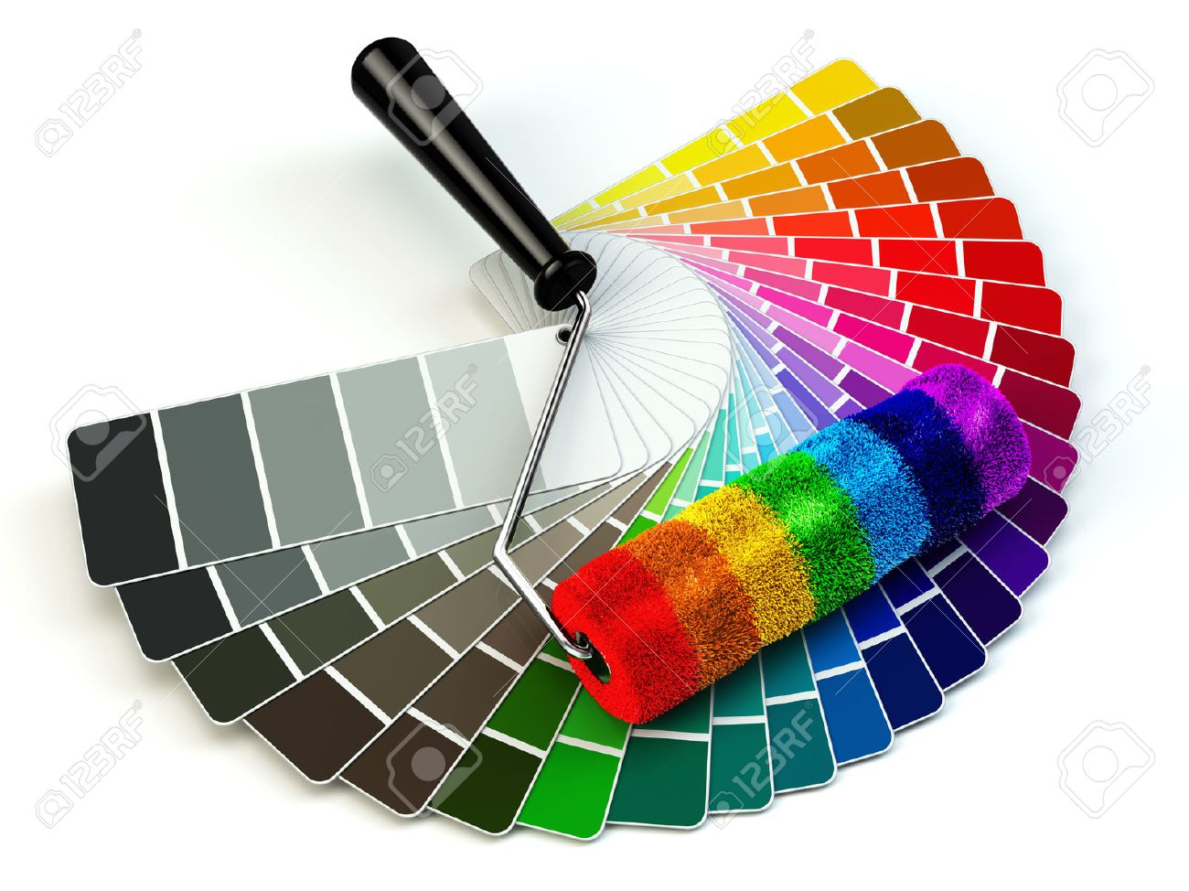 Color chart rainbow - Color Chart Roller Brush And Color Guide Palette In Rainbow Colors 3d