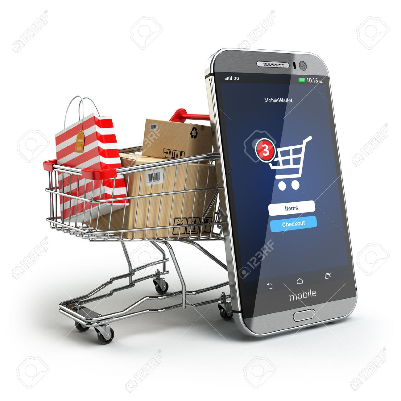 78b02e9ad01 Online shopping concept. Mobile phone or smartphone with cart and boxes and  bag. 3d