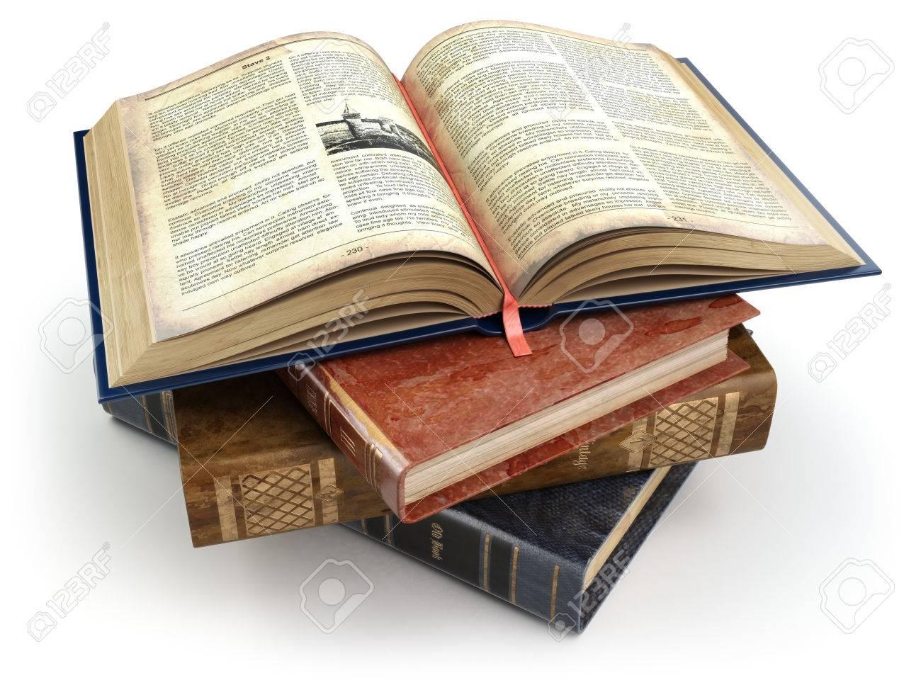 Libros Antiguos Olld Con Una Abierta Aislado En Blanco Educación