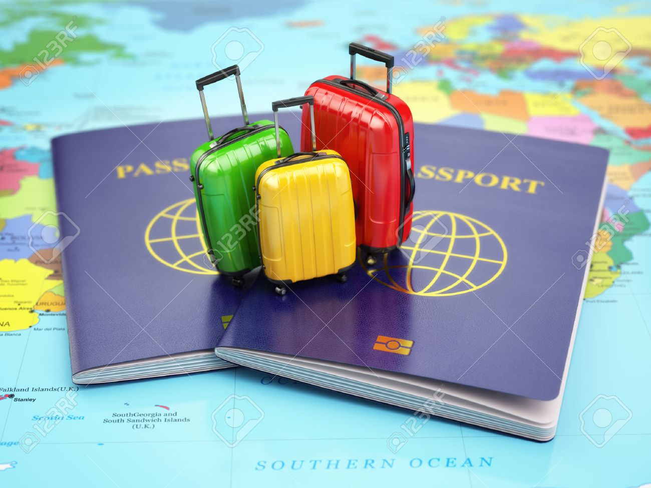 Travel or tourism concept passport and suitcases on the world travel or tourism concept passport and suitcases on the world map 3d stock photo gumiabroncs Choice Image