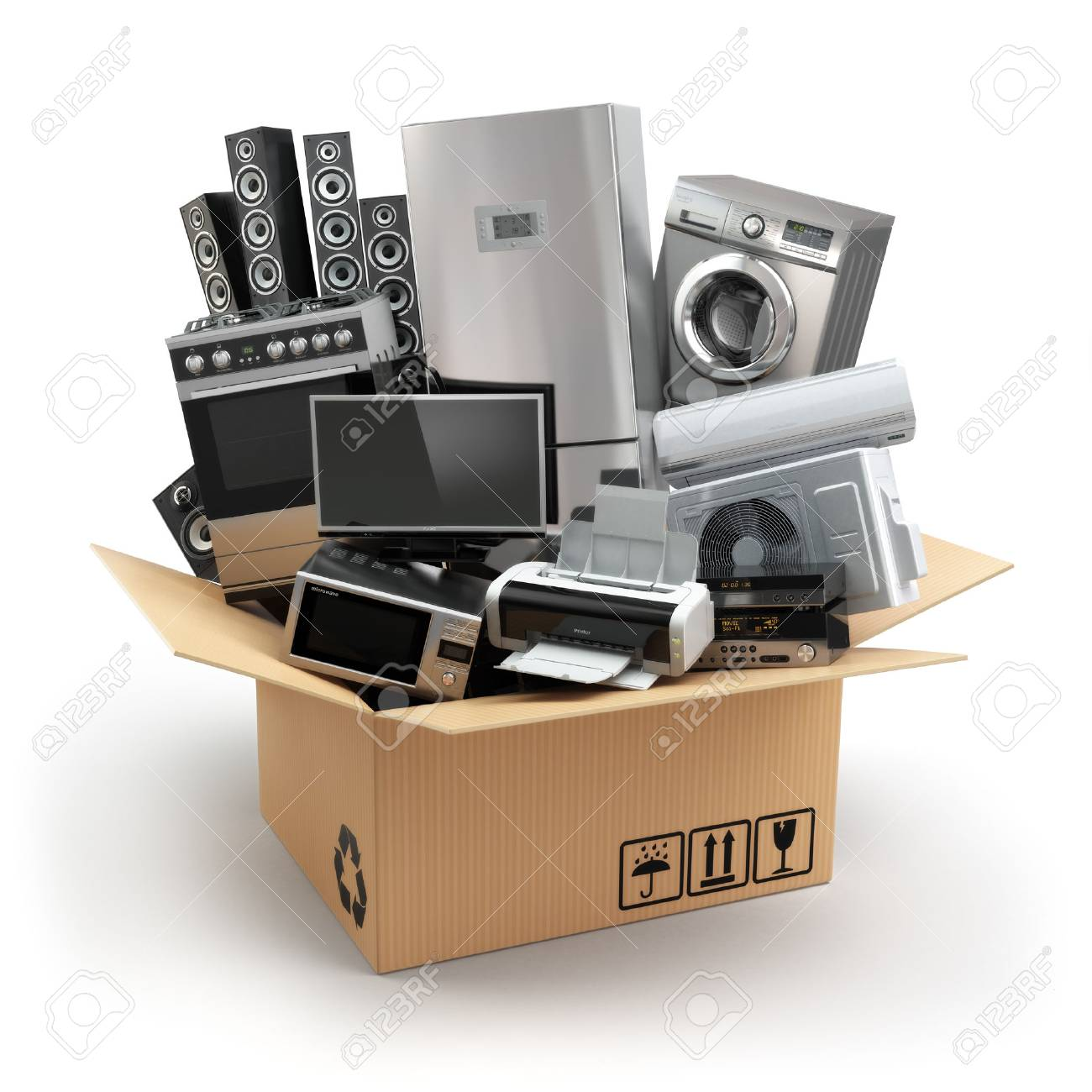Delivery or moving concept. Home appliance in box. Fridge, washing machine, tv printer, microvawe oven, air conditioneer and loudspeakers. 3d - 47274534